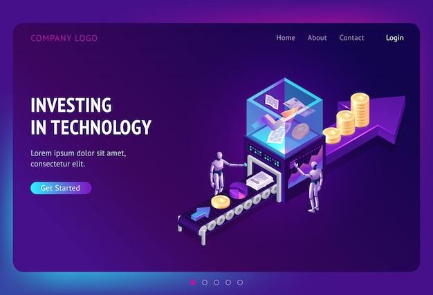 Investir Dans La Page De Destination Isométrique De La Technologie Vecteur gratuit