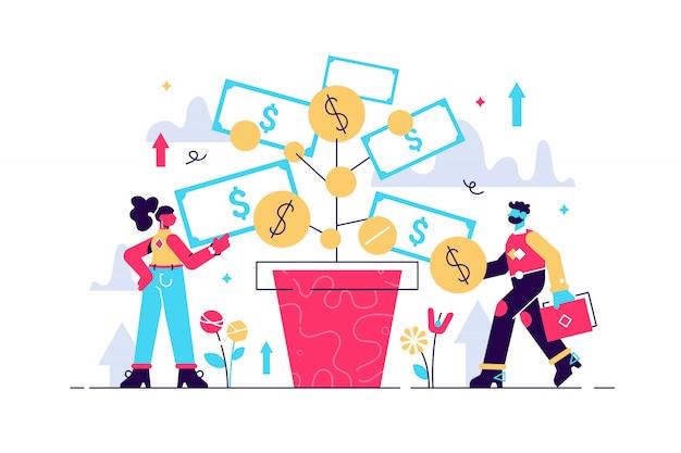 Investir L'illustration. Bénéfices Des Dépôts Et Croissance De La Richesse. Les Personnes Travaillant En équipe Cultivent De L'argent Pour Financer Leurs Activités Futures. Augmentez Vos Revenus Grâce à La Stratégie Réussie Des Investisseurs Bancaires. Vecteur Premium