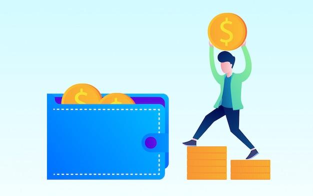 Investissement en argent Vecteur Premium