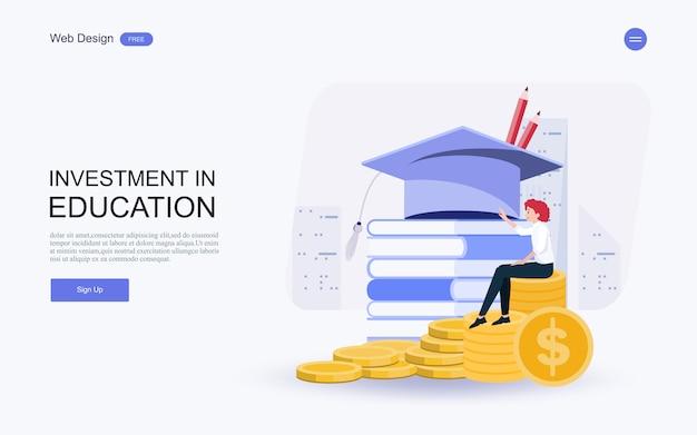 Investissement dans les connaissances, les prêts, les bourses d'études et l'épargne-études Vecteur Premium