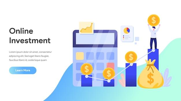 Investissement En Ligne Pour Page De Destination, Site Web, Page D'accueil Vecteur Premium