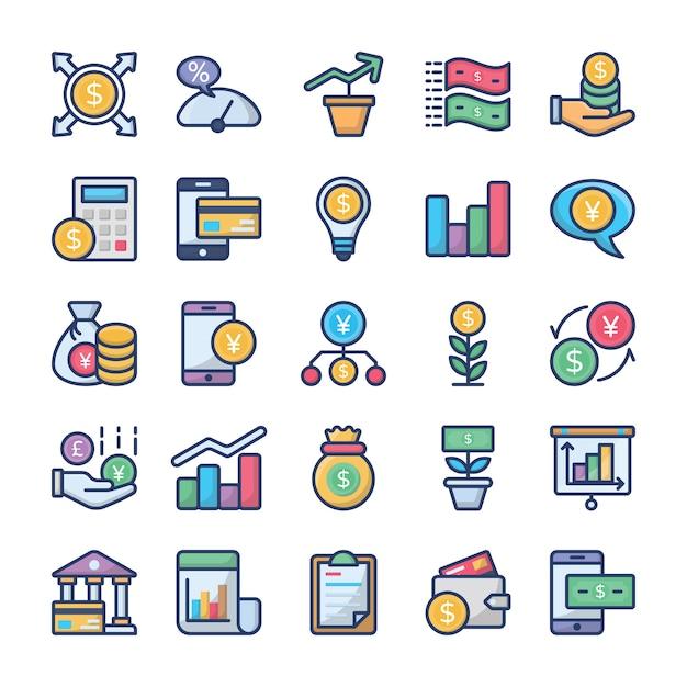 Investissements et finances icons set Vecteur Premium