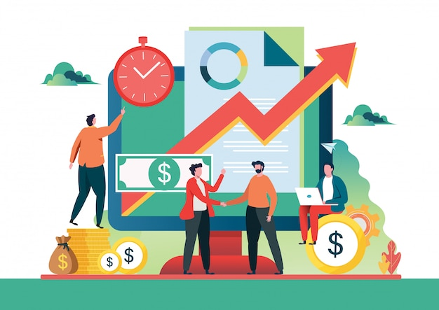 Investissements financiers. Vecteur Premium