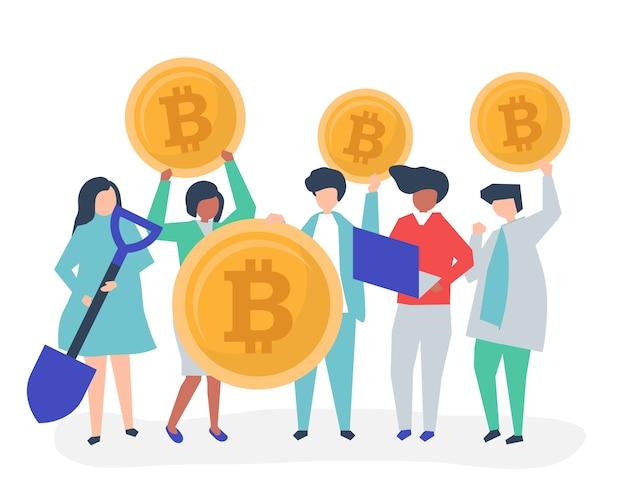 Investisseurs investissant dans des bitcoins Vecteur gratuit