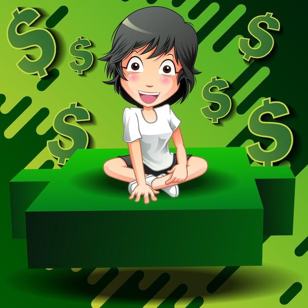 Les investisseurs sont assis sur un chandelier vert. Vecteur Premium