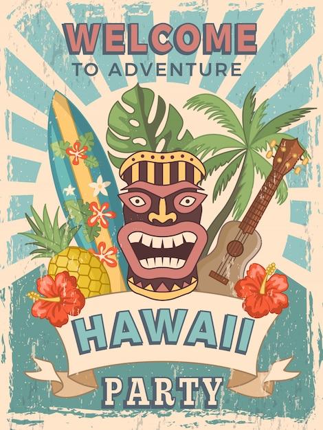 Invitation affiche rétro pour la fête hawaïenne Vecteur Premium