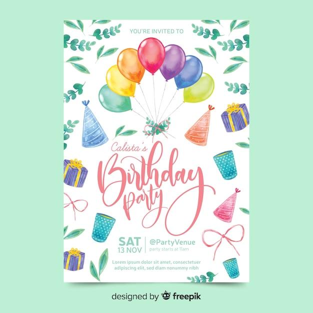 Invitation d'anniversaire à l'aquarelle Vecteur gratuit