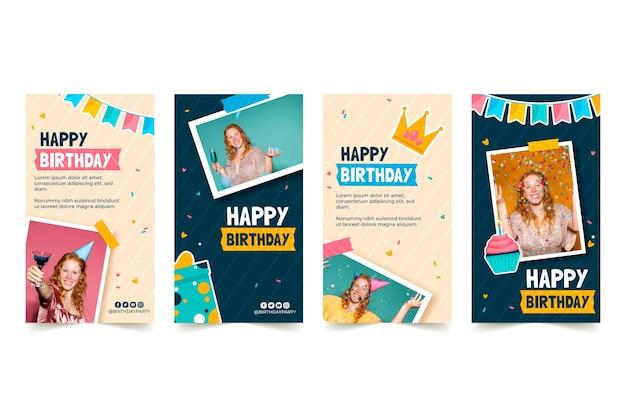 Invitation D'anniversaire Collection D'histoires Instagram Vecteur gratuit
