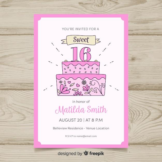 Invitation d'anniversaire douce de seize ans Vecteur gratuit