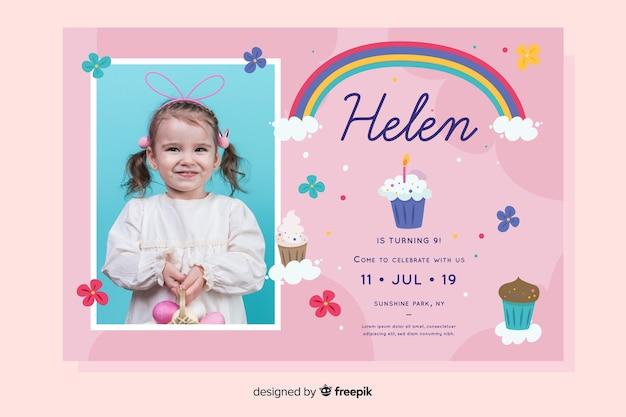 Invitation d'anniversaire enfants modèle avec photo Vecteur gratuit