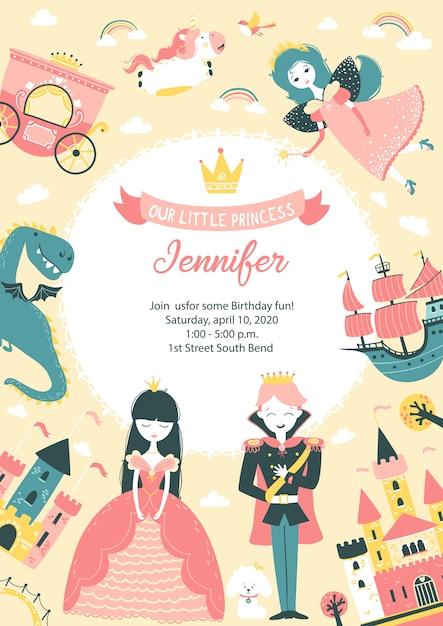 Invitation D'anniversaire De Fête De Princesse Avec Modèle De Texte. Carte Postale Verticale ...