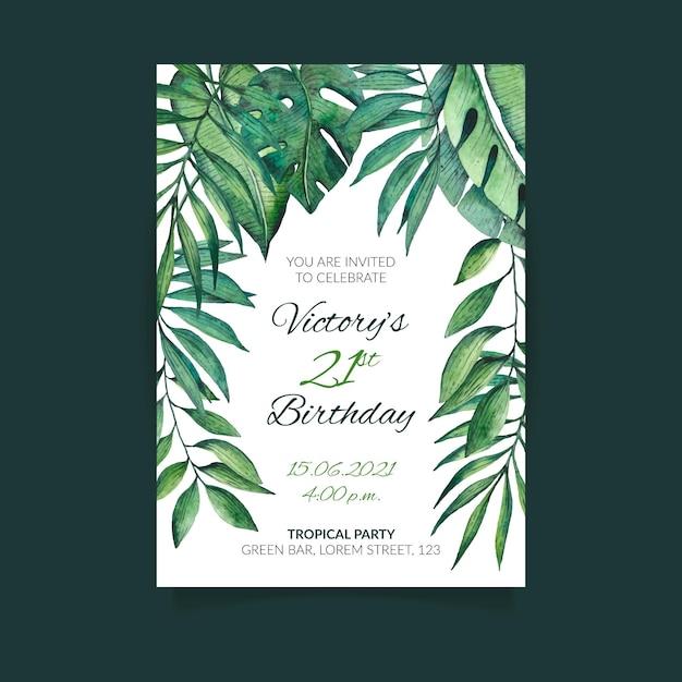 Invitation D'anniversaire Avec Des Feuilles Tropicales Vecteur gratuit