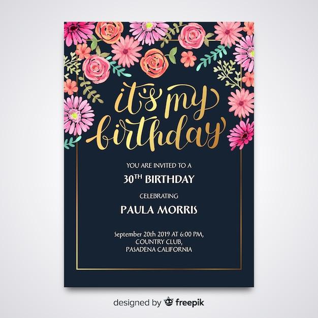 Invitation d'anniversaire floral modèle Vecteur gratuit