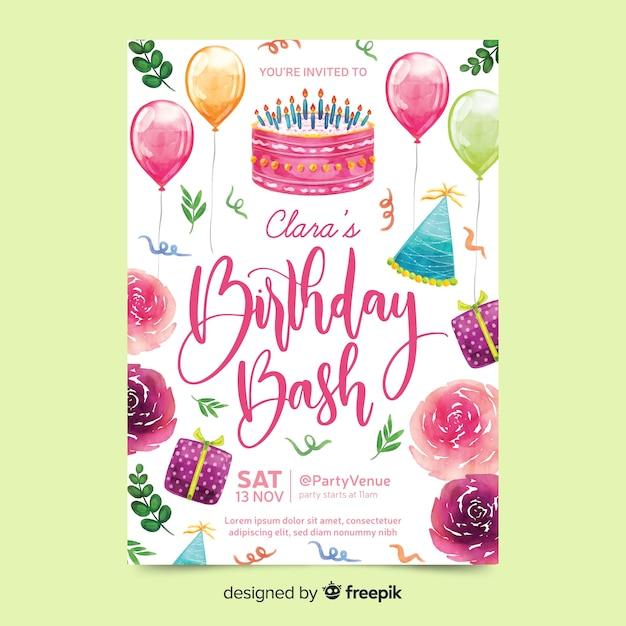 Invitation d'anniversaire avec lettrage Vecteur gratuit