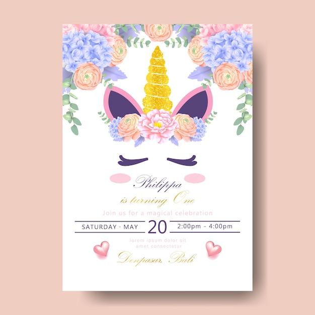 Invitation d'anniversaire licorne Vecteur Premium