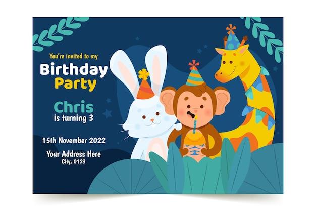 Invitation D'anniversaire Pour Enfants Design Plat Vecteur gratuit
