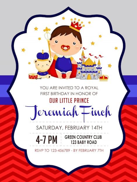 Invitation d'anniversaire prince garçon bébé Vecteur Premium