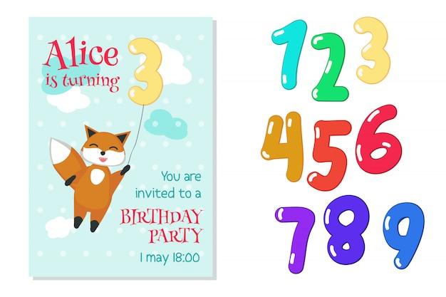 Invitation d'anniversaire avec renard et chiffres Vecteur Premium