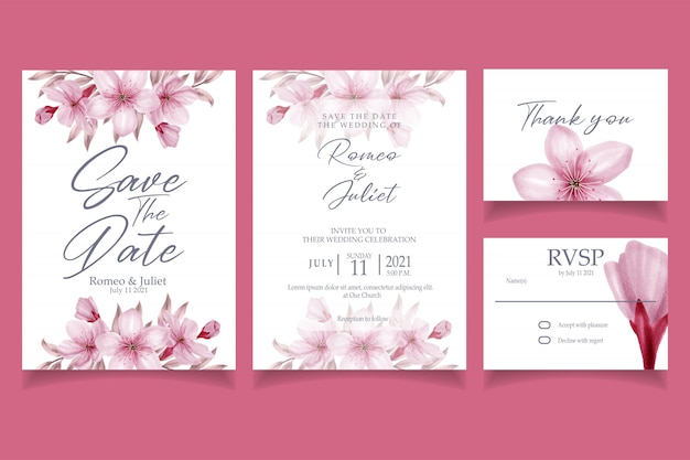 Invitation aquarelle de belle fleur rose fleur invitation Vecteur Premium