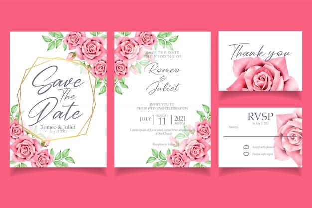 Invitation à une aquarelle de belle fleur rose rouge Vecteur Premium