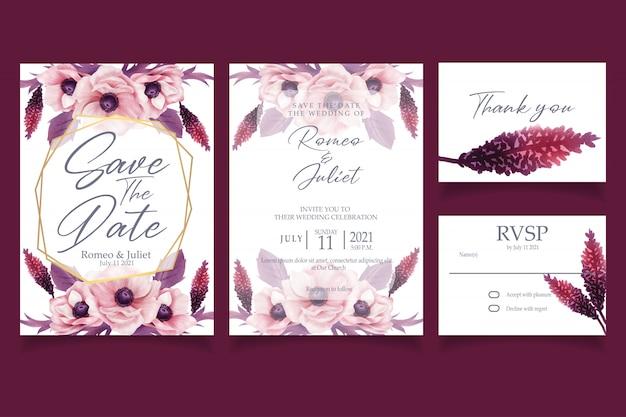 Invitation aquarelle de belle fleur rose Vecteur Premium