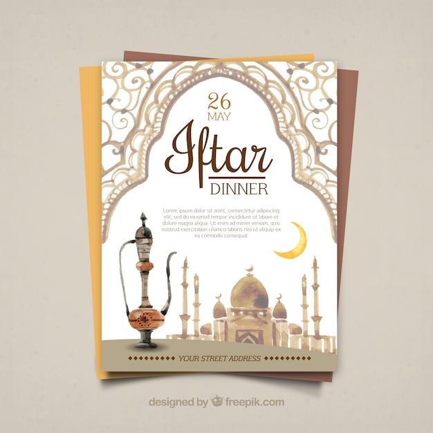 Invitation Au Dîner D'aquarelle Iftar Vecteur gratuit