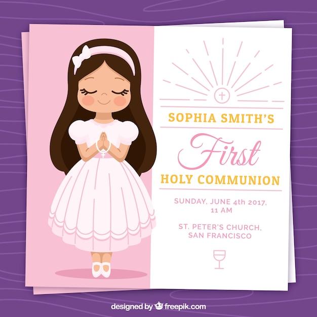 Invitation avec une belle fille de première communion Vecteur gratuit