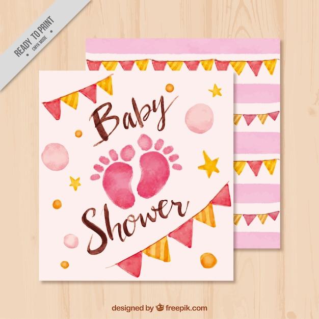 Invitation De Baby Shower Avec Des Empreintes De Pas Et Des Guirlandes Vecteur gratuit