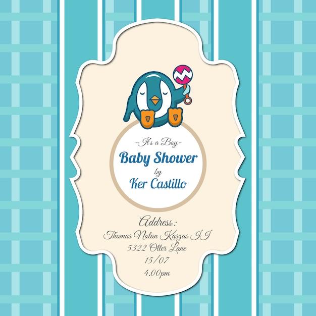Invitation de baby shower avec pingouin Vecteur gratuit