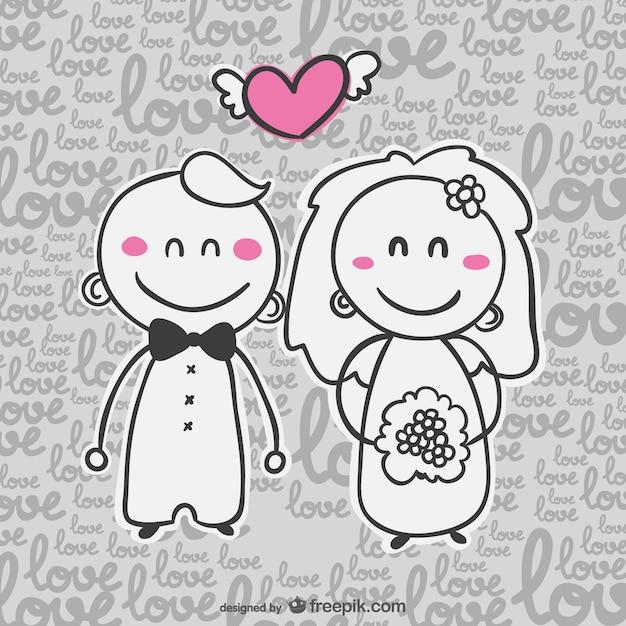 Invitation de bande dessinée de carte de mariage Vecteur gratuit
