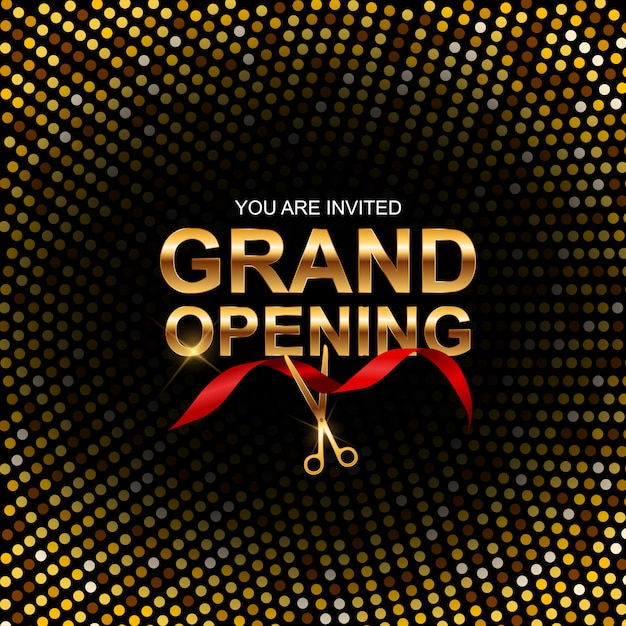 Invitation de bannière pour la grande ouverture Vecteur Premium