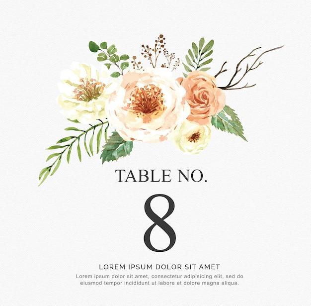 Invitation de beau vecteur aquarelle avec des fleurs et des branches. numéros de table pour mariage. Vecteur Premium