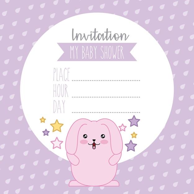 Invitation Bebe Douche Lapin Rose Mignon Kawaii Dessin Anime