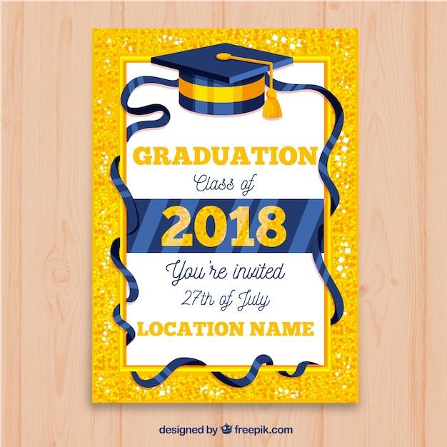 Invitation brillante de fête de remise des diplômes Vecteur gratuit