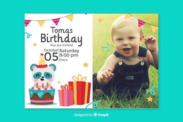 Invitation Carte D'anniversaire Pour Bébé Vecteur gratuit