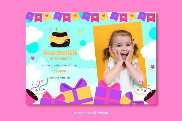 Invitation Carte Anniversaire Pour Modele De Filles Vecteur Gratuite