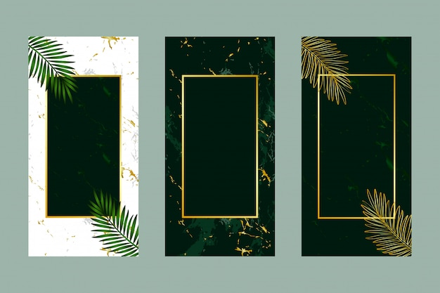 Invitation carte fond vert feuille or marbre Vecteur Premium