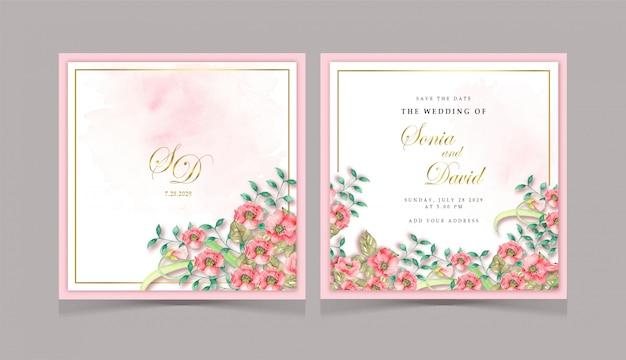 Invitation carte de mariage fleur rouge Vecteur Premium