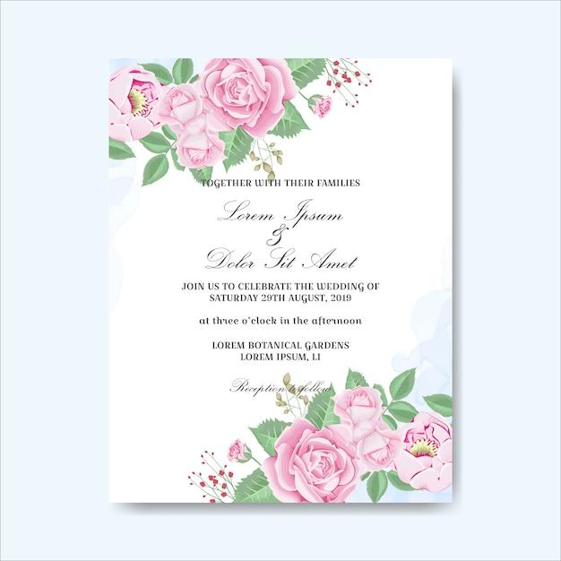 Invitation carte de mariage fleurs dessinées à la main Vecteur Premium