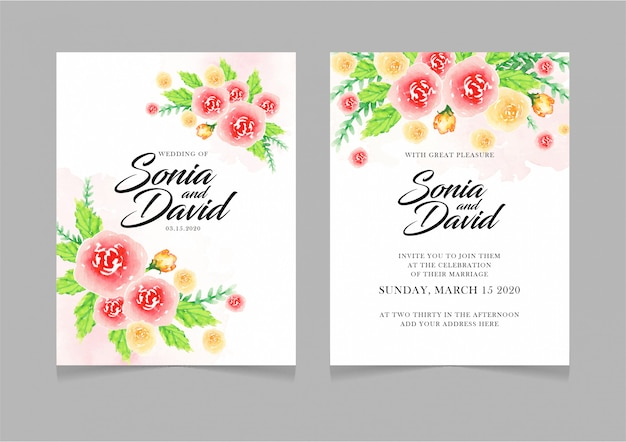 Invitation de carte de mariage heureux fleurs jaunes rouges feuilles vertes Vecteur Premium