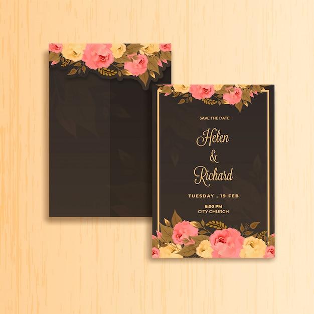 Invitation de carte de mariage. Vecteur Premium