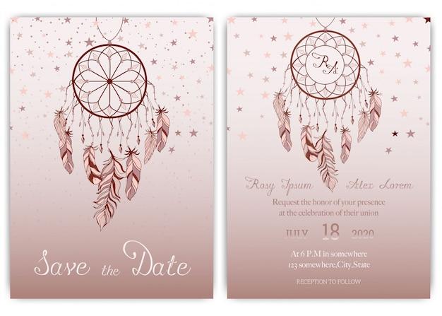 Invitation carte de mariage Vecteur Premium