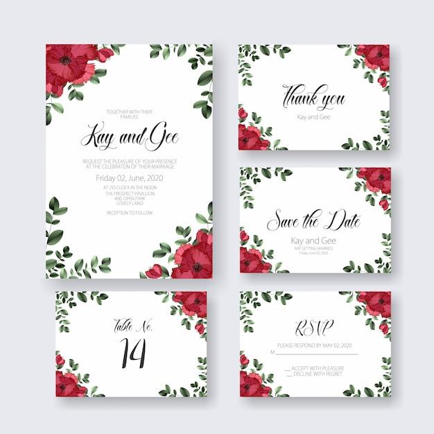 Invitation de carte de mariage Vecteur Premium