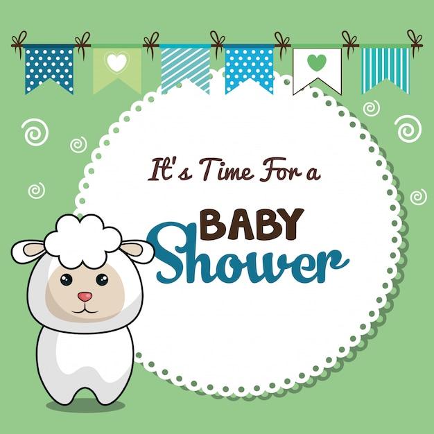 Invitation carte de naissance avec desing moutons Vecteur Premium