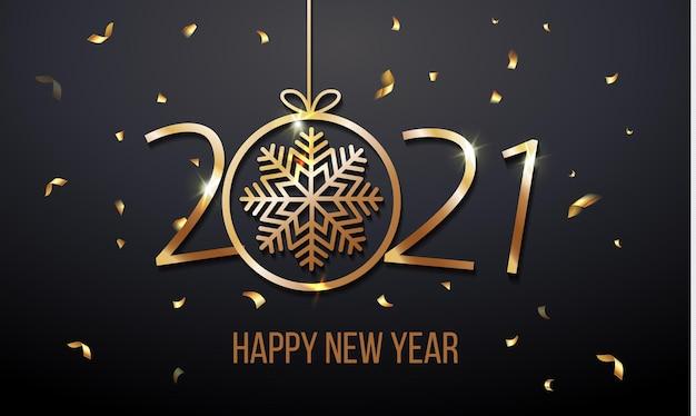 Invitation De Carte De Voeux De Luxe Avec Bonne Année 2021 Avec Des Confettis De Paillettes D'or De Flocon De Neige Et De Brillance Vecteur Premium