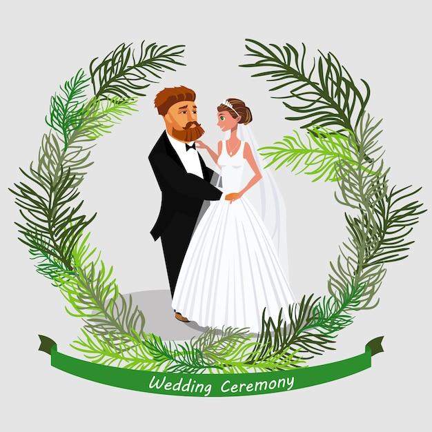 Invitation à une cérémonie de mariage. Vecteur Premium