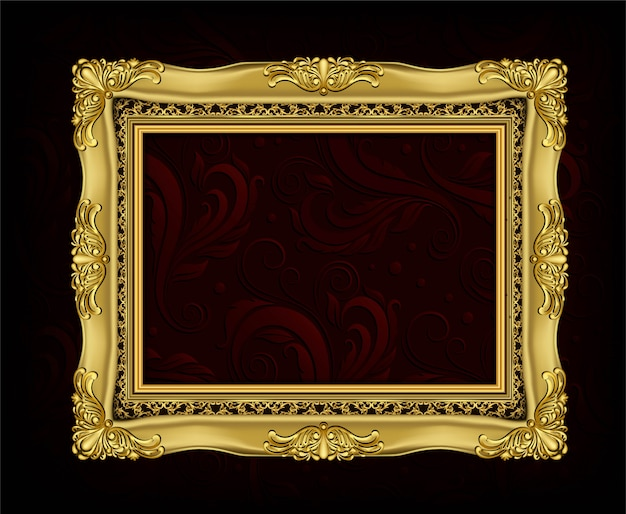 Invitation de conception de vecteur golden photo frame Vecteur Premium