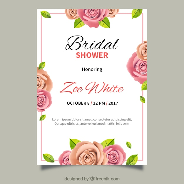 invitation de Bachelorette avec des fleurs réalistes Vecteur gratuit