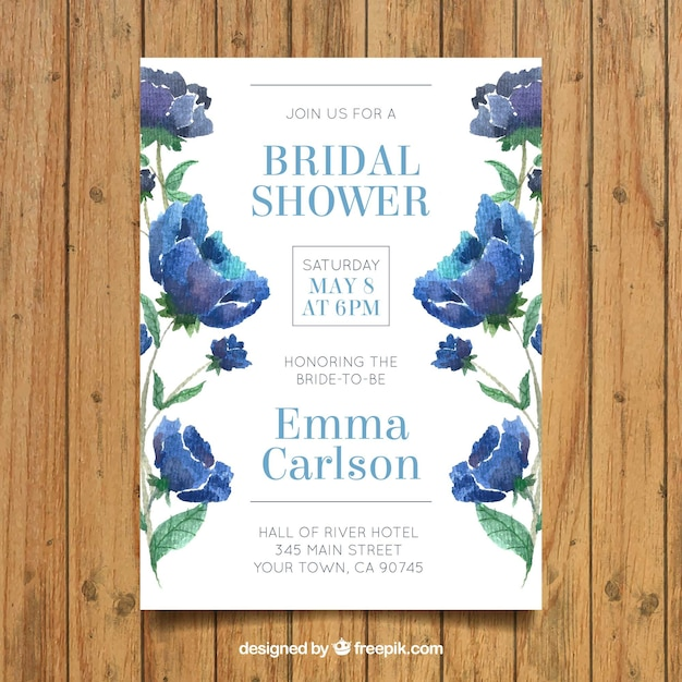 invitation de bachelorette fantastique avec des fleurs à l'aquarelle Vecteur gratuit