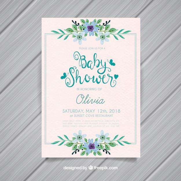 Invitation de douche de bébé avec des fleurs dans un style aquarelle Vecteur gratuit
